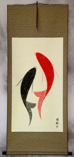 Large Abstract Yin Yang Fish - Asian Wall Scroll