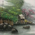 Asian River Boat Landscape Painting