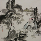 Jiang Feng's Drinking Tea with a Beauty<br>Abstract Chinese Watercolor Art