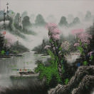 Springtime on the River<br>Boats and Landscape Painting