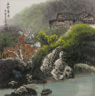 River Boat Village Landscape Painting