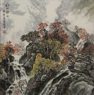 Red Leaves Autumn Mountain Landscape Painting