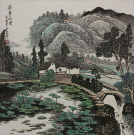 Lotus Scent Travels Far<br>Souther Asian Village Landscape Painting