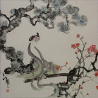Woman and Plum Blossoms Abstract  Asian Art