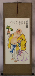 Happy Buddha Brings Treasure - Chinese Scroll