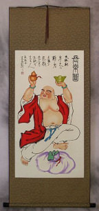 Happy Longtime Buddha - Buddhist Wall Scroll