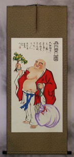 Happy Longtime Buddha - Asian Wall Scroll