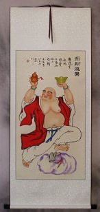 Happy Buddha Brings Treasures Wall Scroll