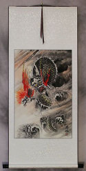 Fierce Asian Dragon - Chinese Wall Scroll