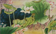 Little Bird in the Lotus<br>Asian Watercolor Masterpiece Watercolor Painting