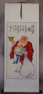 Longtime Happy Buddha Wall Scroll