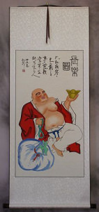 Longtime Happy Buddha - Chinese Scroll