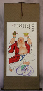 Happy Chinese Buddha Brings Treasures Wall Scroll
