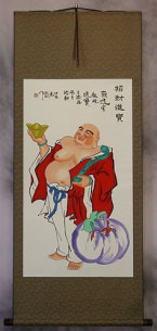 Happy Buddha Brings Treasures Chinese Scroll