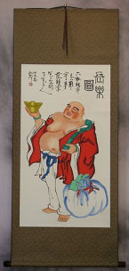 Jolly Happy Buddha Wall Scroll