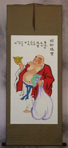Large Happy Buddha Wall Scroll