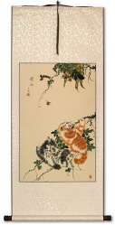 Chinese Kittens - Cat Art Scroll