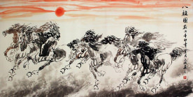 Large Eight Asian Horse Painting