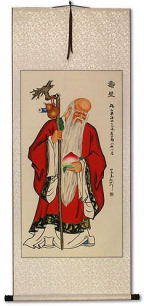 God of Longevity Holding Peach - Chinese Wall Scroll