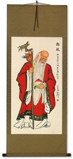 Longevity Saint holding Peach - Chinese Scroll