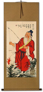 Old Man Fishing - Chinese Scroll