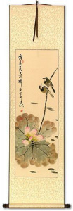 Lotus Beauty in Misty Morning Pond - Wall Scroll