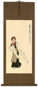 Dancing Minority Girl of Southern China Wall Scroll