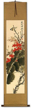 Golden Autumn Rhythm - Bird and Flower Wall Scroll