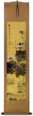 Fresh Fragrance - Birds and Lotus Wall Scroll
