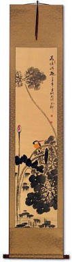 Kingfisher Bird in Alighting on Lotus Flower - Chinese Wall Scroll