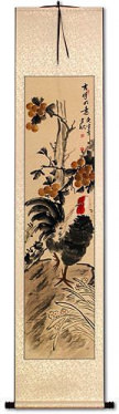 Good Luck Rooster and Lychee Wall Scroll