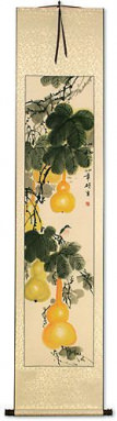 Yellow Gourds - Heavenly Fruit - Chinese Wall Scroll