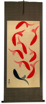 Abstract Large Nine Koi Fish Chinese Wall Scroll