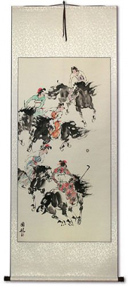 Traditional Chinese Horseback Polo - Large Wall Scroll