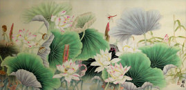 Lotus, Bamboo and Dragonfly<br>Beautiful Flowers Asian Art