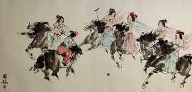 Old Asian Horseback Polo<br>Large Painting