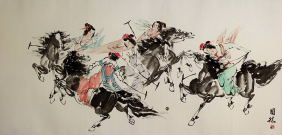 Classic Chinese Horseback Polo<br>Large Painting