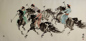 Ancient Chinese Horseback Polo<br>Large Painting
