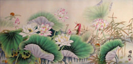 Lotus and Dragonfly<br>Large Chinese Painting