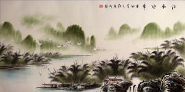 Cranes River Village Landscape Asian Art