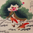 Koi Fish Having Fun in the Lotus Flowers<br>Watercolor Painting