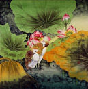 Elegant Egrets in the Lotus Pond<br>Large Asian Art