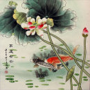 Big Koi Fish and Lotus Flower  Asian Art