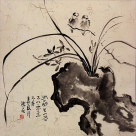 Bird, Stone, and Orchid Flower Asian Art