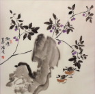 Asian Bird and Flower Blossom Painting