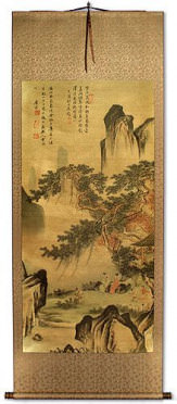 Happy Family - Chinese Landscape Print Wall Scroll