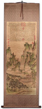 Immortal Mountain Pavilion Poetry - Chinese Landscape Print Wall Scroll