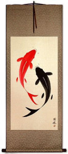 Large Yin Yang Fish - Chinese Scroll