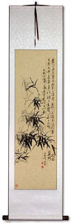 Black Ink Orchid Flower and Poem Wall Scroll