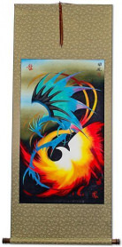 Chinese Dragon with Phoenix - Wall Scroll